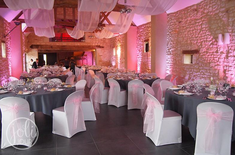Decoration-de-mariage-rose-pale-Tours-Chatellerault-Poitiers-l-Armandiere-avis-Decoratrice-wedding-planner-eclairage-salle