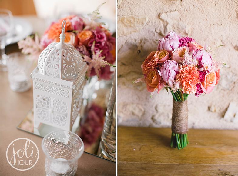 Bouquet-de-mariee-corail-pivoines-rose-pale-peche-fushia-mariage-vintage-pastel-decoration-orientale-lanternes-marocaines