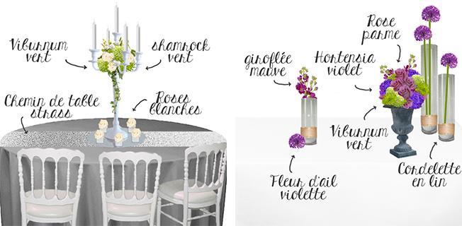 Croquis-schema-decoration-de-mariage-gris-blanc-chandelier-et-decor-de-buffet-mauve-violet-parme