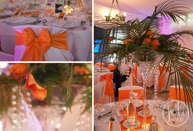 Decorateurs-de-mariages-Poitiers-chateau-de-Perigny-Vouille-avis-Location-vase-martini-orange-et-exotique-feuille-de-palmier-antilles-afrique-theme-tropical